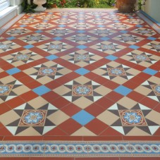 Original Style - VFT - Blenheim pattern with Telford border in Red, Blue, Buff, Brown and White